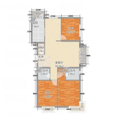 宏洋美都3室1厅2卫1厨141.00㎡户型图