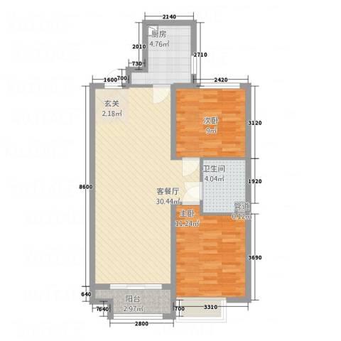 丹东万达广场2室1厅1卫1厨90.00㎡户型图