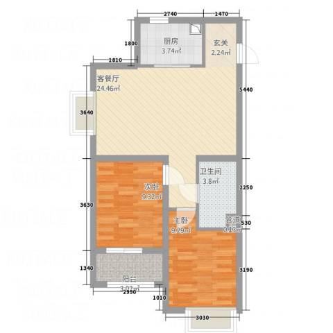 丹东万达广场2室1厅1卫1厨78.00㎡户型图