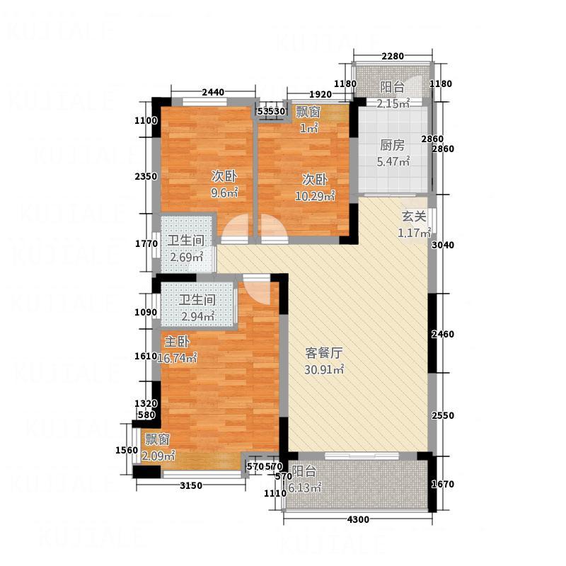 江中・盛世峰景123.20㎡H户型3室2厅2卫1厨