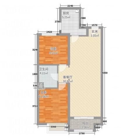 丹东万达广场2室1厅1卫1厨92.00㎡户型图