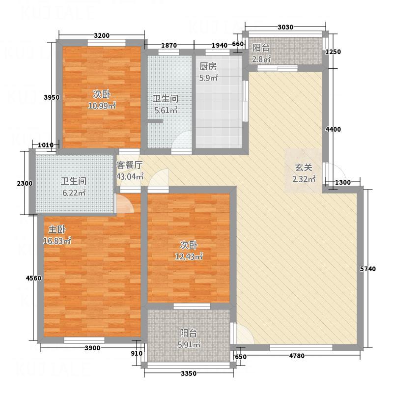 奥克斯天伦城123.00㎡3E户型3室2厅2卫1厨