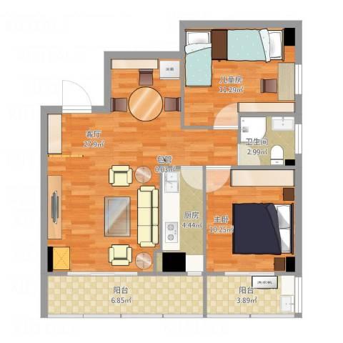 富山美迪斯2室1厅1卫1厨95.00㎡户型图
