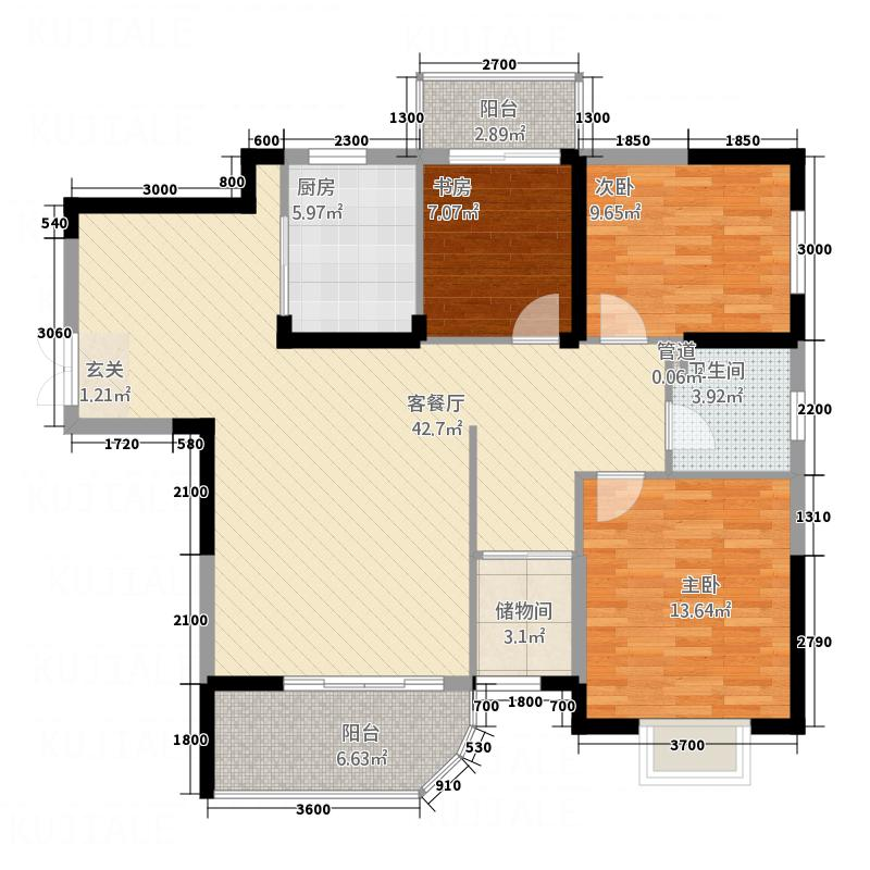 和盛・中央公园二期117.71㎡F户型3室2厅2卫1厨