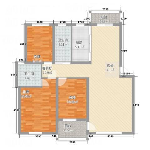 奥克斯天伦城3室1厅2卫1厨116.00㎡户型图