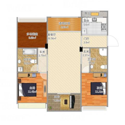 上虞130平米2室1厅2卫1厨135.00㎡户型图