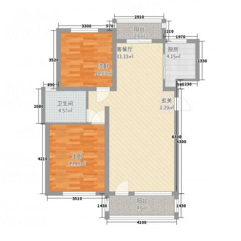 奥克斯天伦城2室1厅1卫1厨72.46㎡户型图