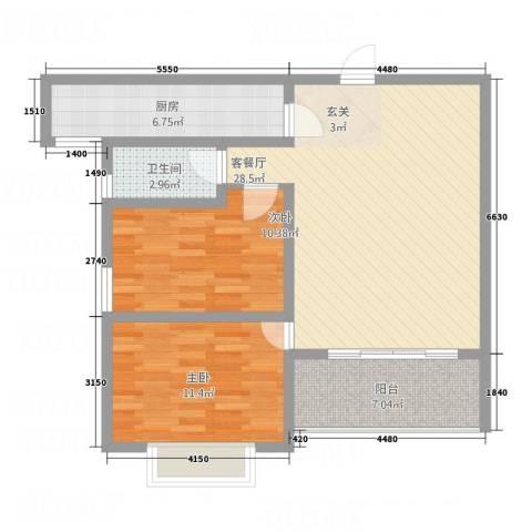 南都秋实苑2室1厅1卫1厨67.03㎡户型图