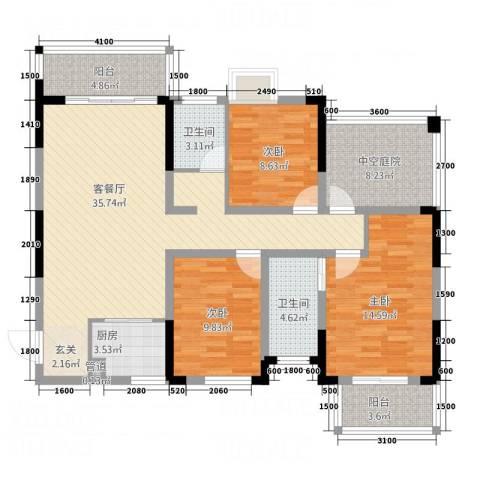 富兴嘉城3室1厅2卫1厨123.00㎡户型图