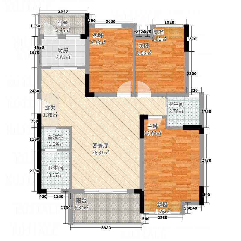 江中・盛世峰景1.20㎡I户型3室2厅2卫1厨