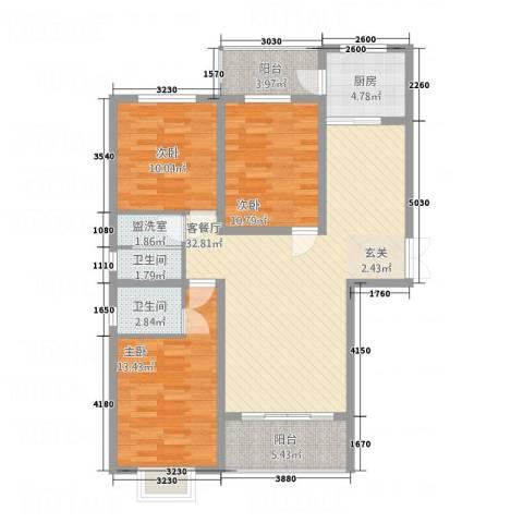南都秋实苑3室2厅2卫1厨126.00㎡户型图