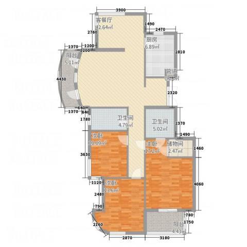 君悦国际城3室1厅2卫1厨158.00㎡户型图