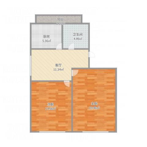 华东路2室1厅1卫1厨78.00㎡户型图