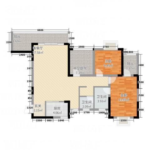 富兴嘉城2室1厅2卫1厨113.00㎡户型图