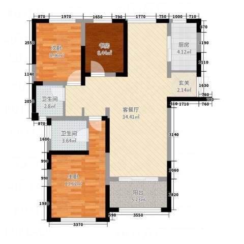 中南世纪锦城3室1厅2卫1厨116.00㎡户型图