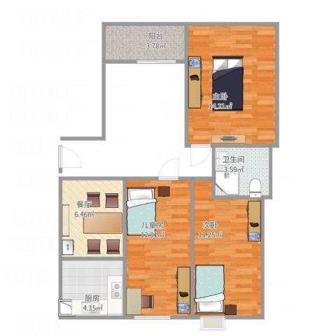 御景豪庭3室1厅1卫1厨76.00㎡户型图