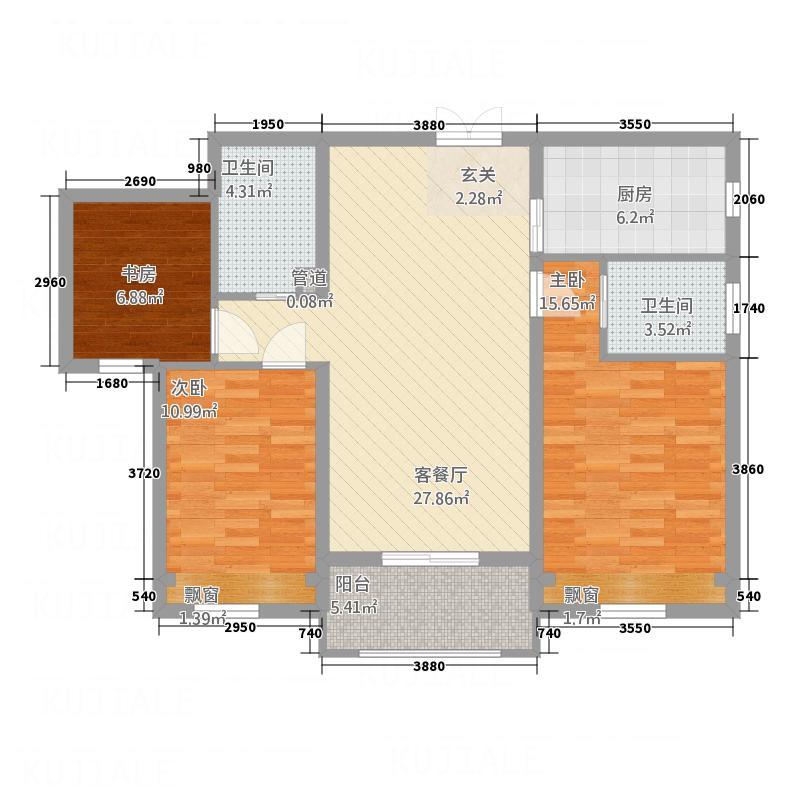 德意君瑞城115.00㎡A2户型3室2厅2卫1厨