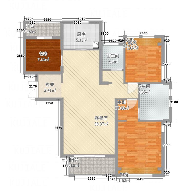 德意君瑞城136.00㎡C1户型3室2厅2卫1厨