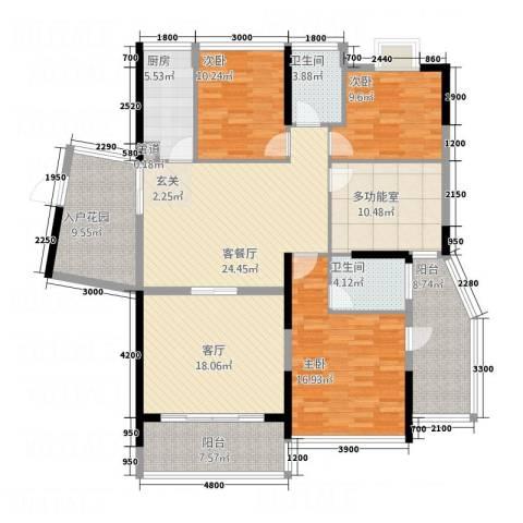 红豆美墅3室2厅2卫1厨147.00㎡户型图