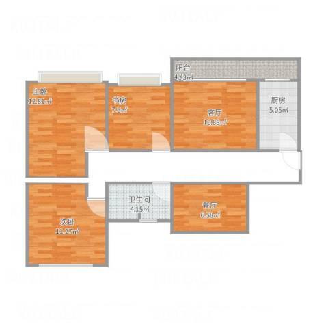 碧桂园・柏丽湾3室2厅1卫1厨85.00㎡户型图