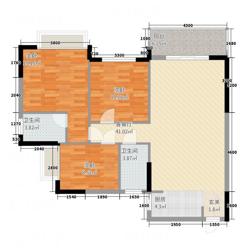 盈峰家园111.28㎡1-4座01单位标准层户型3室2厅2卫1厨