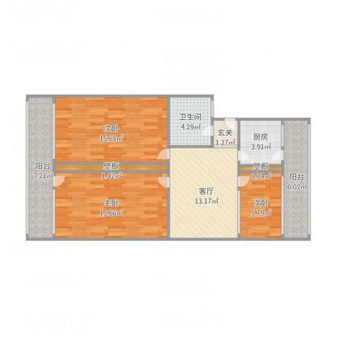 某家属小区3室1厅1卫1厨103.00㎡户型图