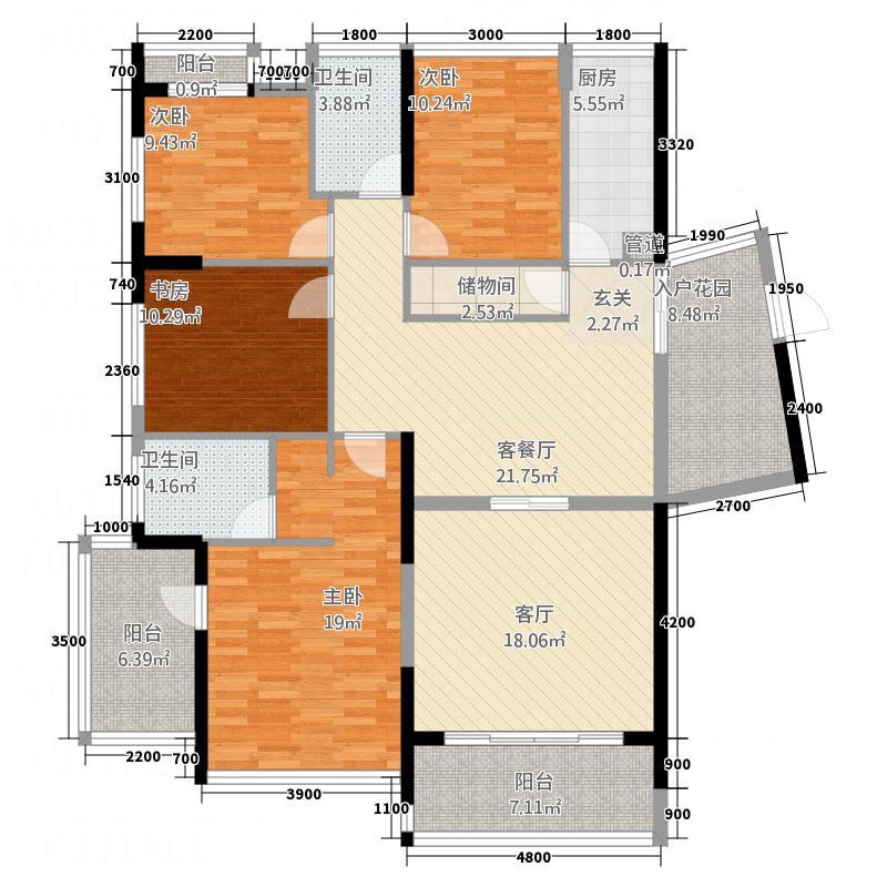 红豆美墅145.00㎡A3户型3室2厅2卫