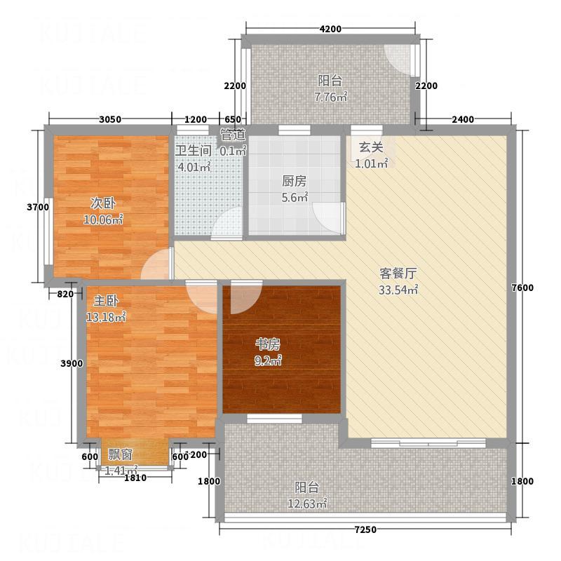 荷城・怡景苑11.62㎡户型2室2厅1卫1厨