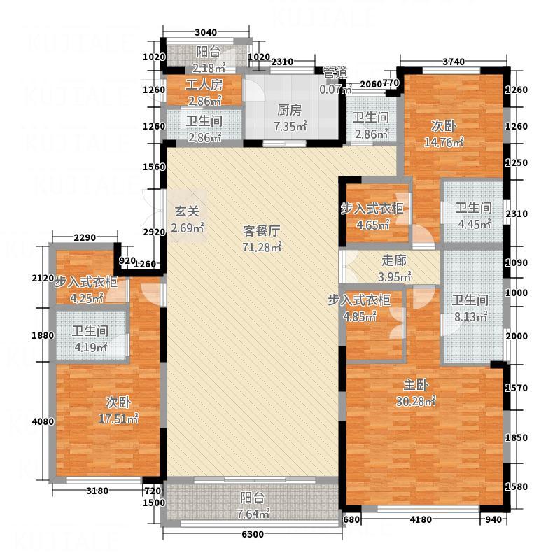 万达广场26.00㎡户型3室
