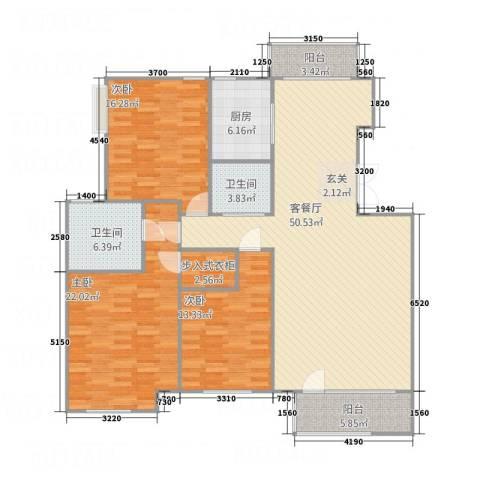 浪琴湾墅3室1厅2卫1厨130.37㎡户型图