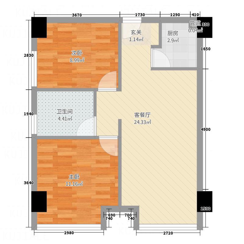港城嘉苑户型2室2厅1卫1厨