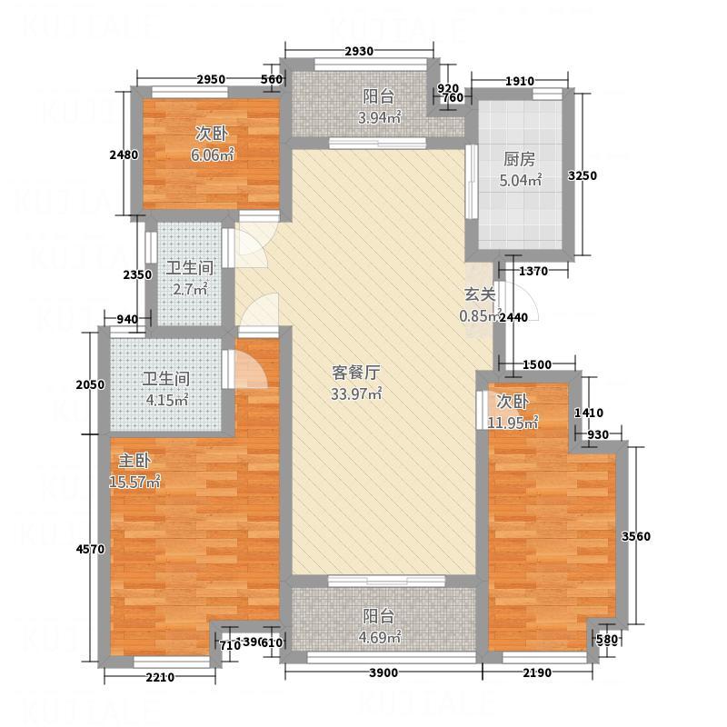 东方・亚特兰125.00㎡户型3室2厅2卫1厨