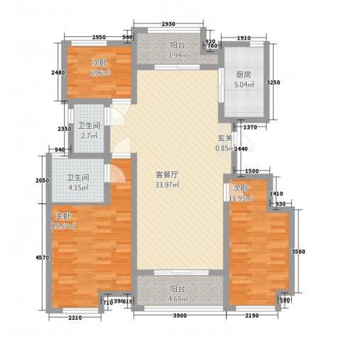 东方・亚特兰3室1厅2卫1厨125.00㎡户型图