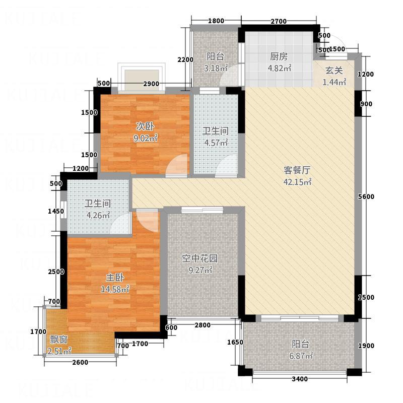 港龙湾・波托菲诺15111.20㎡15#1/3单元2+1B3室户型3室2厅2卫1厨