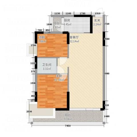 仁和WE城2室1厅1卫1厨83.00㎡户型图