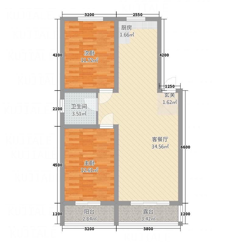 龙屿墅f0户型2室2厅1卫1厨
