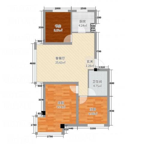 环宇金域蓝山3室1厅1卫1厨66.19㎡户型图