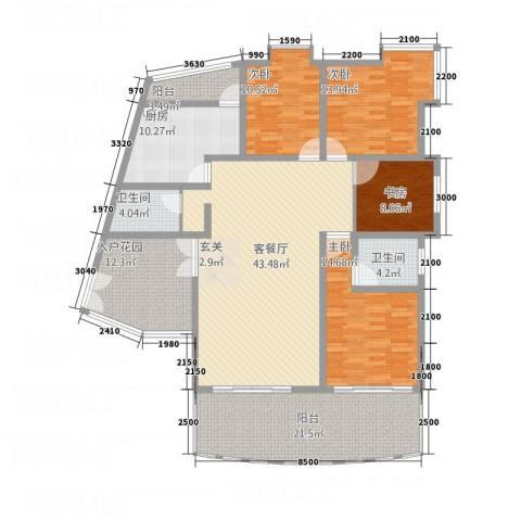 安江名园4室1厅2卫1厨155.00㎡户型图