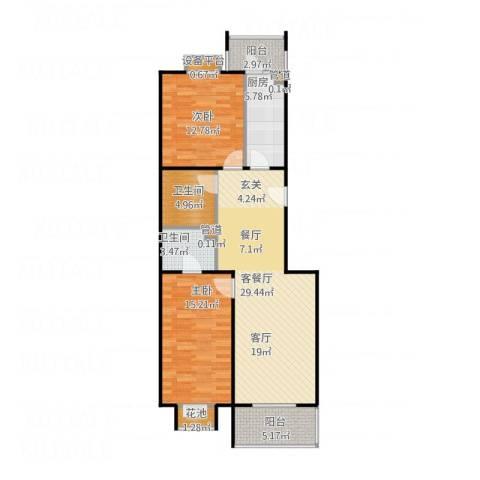 9号院花园洋房2室1厅2卫1厨111.00㎡户型图