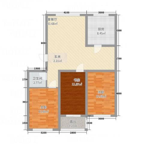 龙屿墅3室1厅1卫1厨83.21㎡户型图