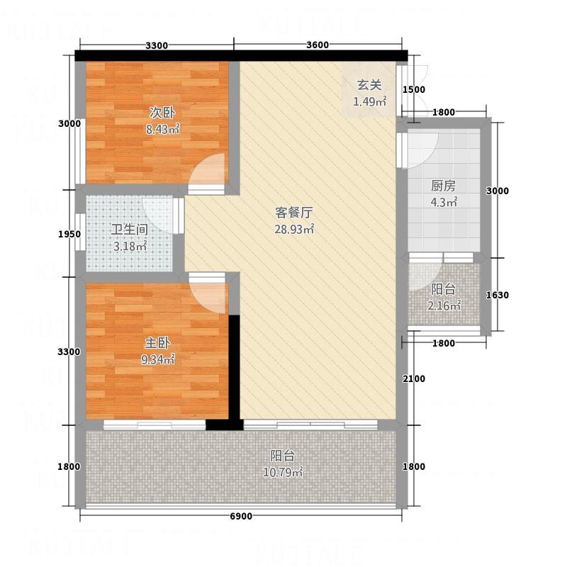北城财阜3283.44㎡户型2室2厅1卫1厨