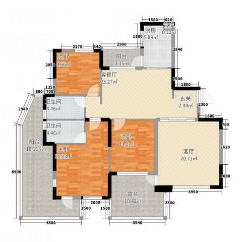 红豆美墅3室2厅2卫1厨134.00㎡户型图