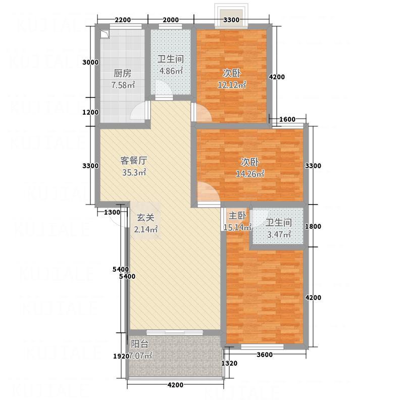 金张湾花园12.00㎡F户型3室2厅2卫1厨