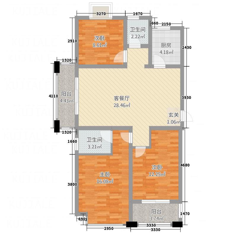 亿嘉・尚城名都12.55㎡F户型3室2厅2卫1厨