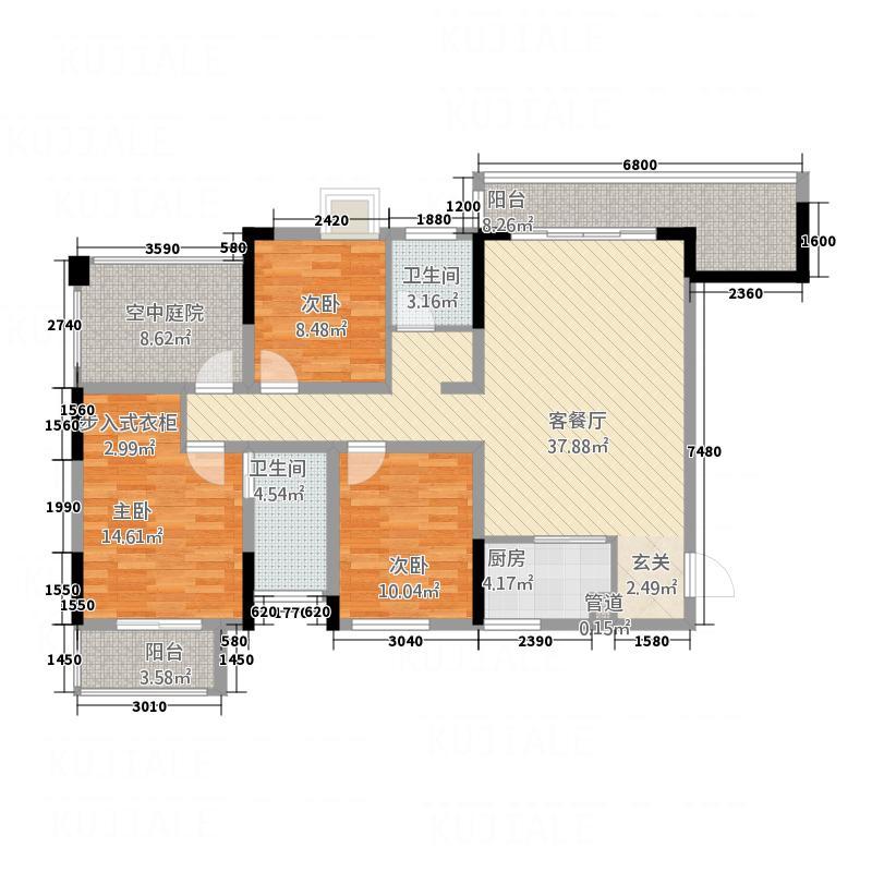 富兴嘉城133.86㎡23#A户型3室2厅2卫1厨