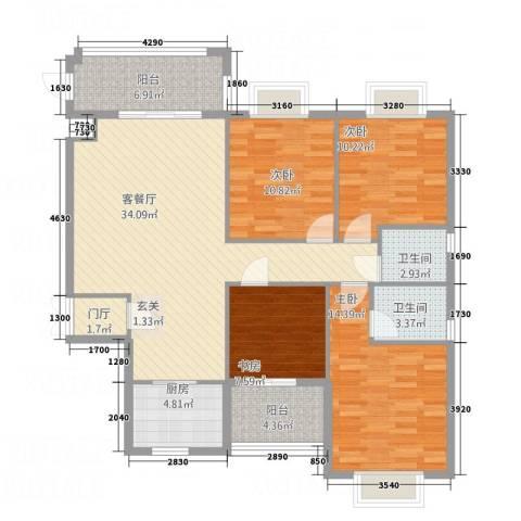 万联蓝湾国际4室1厅2卫1厨1147.00㎡户型图