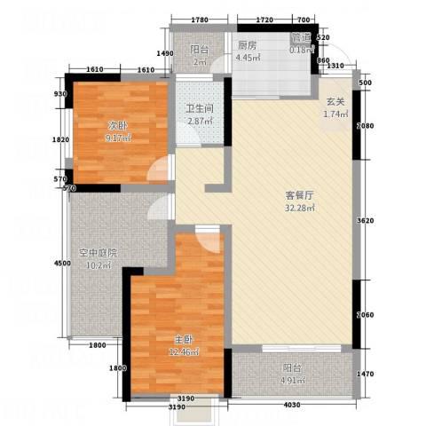 富兴嘉城2室1厅1卫1厨78.53㎡户型图