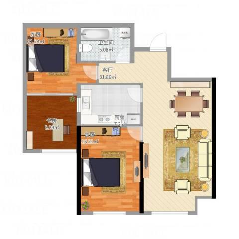 哈尔滨星光耀广场3室1厅1卫1厨109.00㎡户型图