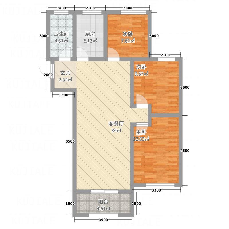 中悦城3132111.50㎡C户型3室2厅1卫1厨
