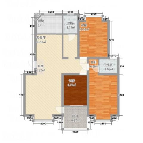 万润城市花园3室1厅2卫1厨97.57㎡户型图